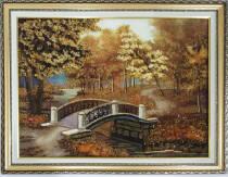 """Картина із бурштину """"Місток у парку"""" 30х40 см"""