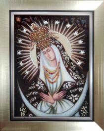 Икона Остробрамской Божьей Матери из янтаря 10х15 см без стекла