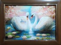 "Картина из янтаря ""Лебединая пара"" 30х40 см"