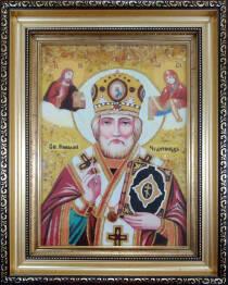 """Ікона із бурштину """"Святий Миколай"""" 20х30 см в склі"""