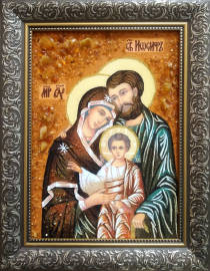 """Ікона із бурштину """"Святе сімейство"""" 20х30 см без скла"""