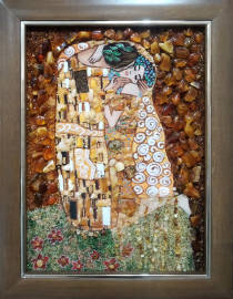 "Картина из янтаря ""Поцелуй"" 30х40 см"