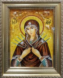 Ікона Божої Матері Семистрільна з бурштину 20х30 см в склі