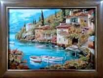 """Картина из янтаря """"Залив"""" 30х40 см"""