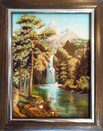 """Картина из янтаря """"Водопад"""" 15x20 см"""
