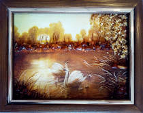 """Картина из янтаря """"Лебеди и лебедята"""" 15х20 см"""