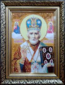 Ікона святого Миколая Чудотворця з бурштину 30х40 см в склі