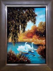 """Картина из янтаря """"Лебеди"""" 20х30 см"""