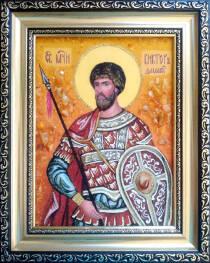 """Іменна ікона із бурштину """"Святий Віктор Дамаський"""" 15х20 см без скла"""