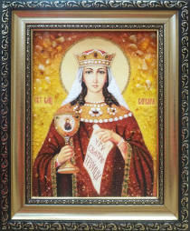 """Ікона із бурштину """"Свята Варвара"""" 15х20 см без скла"""