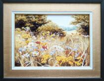 """Картина из янтаря """"Полевые цветы"""" 30х40 см"""