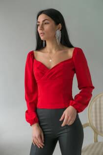 LUREX Вишукана жіноча блуза з довгими рукавами-ліхтариками - червоний колір, S