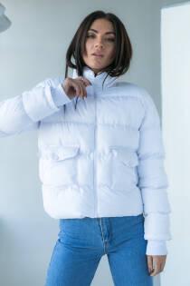 Crep Тепла куртка з кишенями - білий колір, L