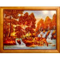 """Пропонуємо купити картину """"Осінній пейзаж"""" з бурштину"""