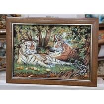 """Картина із бурштину """"Тигри"""" 30х40 см"""