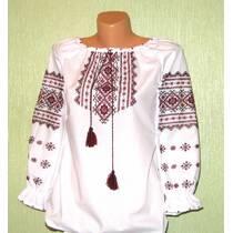 Вышитая блузка для девочки на поплине