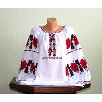 Женская рубашка с большими цветами. Ручная работа.