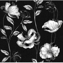 Обои бумажные Континент Есения белые цветы серебро черный фон 1272