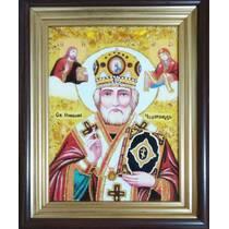 Ікона святого Миколая Чудотворця в рамці кіот 20х30 см без скла