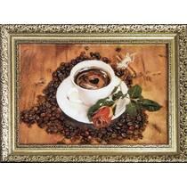 """Картина із бурштину """"Кава і троянда"""" 20х30 см"""