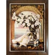 """Картина з бурштину """"Голуби і троянди"""" 30х40 см"""
