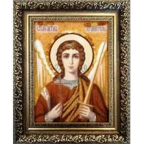 Ікона Ангела Хранителя з бурштину 15х20 см без стекла