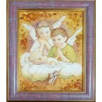 """Ікона із бурштину в дитячу кімнату """"Янголята"""" 15х20 см без скла"""