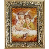 """Ікона в дитячу кімнату із бурштинуи """"Янголята"""" 15х20 см"""