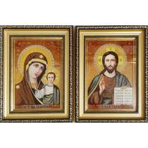 Весільні ікони із бурштину 18х25  см в склі