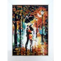 """Картина із бурштину """"Закохані у парку"""" 20х30 см"""
