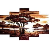 "Модульная картина из янтаря ""Саванна"" (5 частей) без рамки 160х80 см"