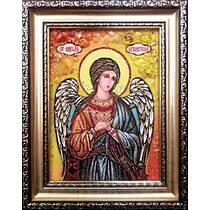 """Ікона із бурштину """"Ангел Хоронитель"""" 15х20 см без скла"""