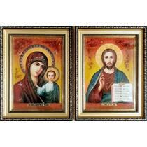 """Весільні ікони із бурштину """"Казанська пара"""" 20х30  см в склі"""