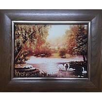 """Картина із бурштину """"Лебеді на озері"""" 15х20 см"""