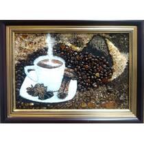 "Картина із бурштину ""Кава"" 20х30 см"