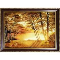 """Картина з бурштину """"Захід сонця"""" 30х40 см"""