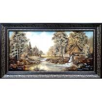 """Картина із бурштину """"Водяний млин"""" 30x60 см"""