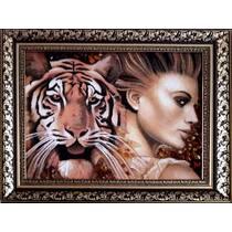 """Картина із бурштину """"Тигр і жінка"""" 30х40 см"""