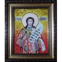 """Ікона із бурштину """"Святий Роман Солодкоспівець"""" 15х20 см без скла"""