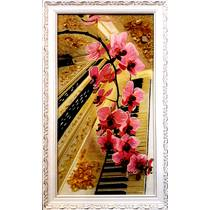 """Картина із бурштину """"Орхідея на фортепіано"""" 30х60 см"""