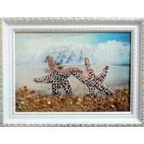 """Картина з бурштину """"Морські зірки"""" 15х20 см"""