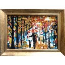 """Картина із бурштину """"Пара у парку"""" 20х30 см"""