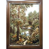 """Картина із бурштину """"Лісова тиша"""" 40x60 см"""