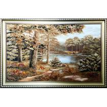 """Картина із бурштину """"Лісове озеро"""" 100х60 см"""
