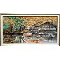 """Картина з бурштину """"Мисливський будиночок"""" 40х80 см"""