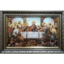 """Ікона із бурштину """"Тайна вечеря (Старослов'янська)"""" 30х50 см в склі"""