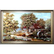 """Картина із бурштину """"Сучасний будиночок"""" 100х60 см"""