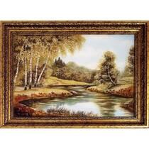 """Картина із бурштину """"Ріка в лісі"""" 30x40 см"""