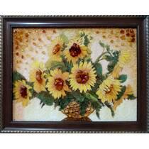 """Картина із бурштинну """"Соняшники"""" 30х40 см"""