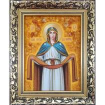 """Ікона із бурштину """"Покрова Пресвятої богородиці"""" 15х20 см без скла"""